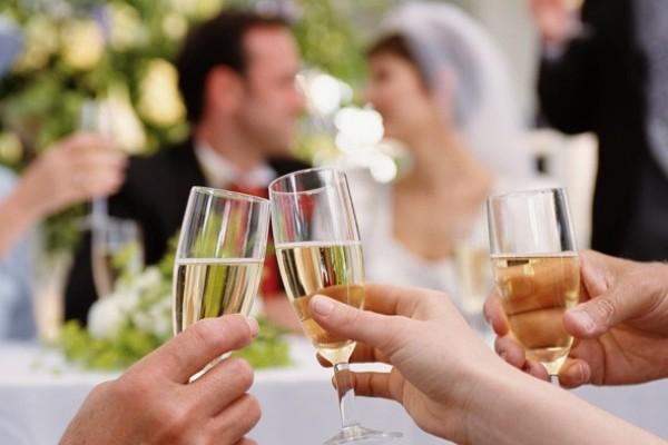 Raising a toast at the wedding