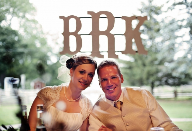 Wooden wedding initials