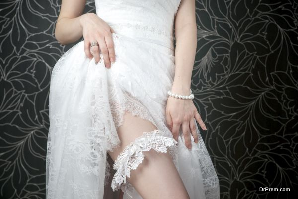 White lace stockings bride
