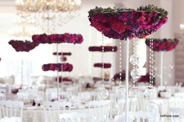 Beautiful flowers on wedding table decoration arrangement