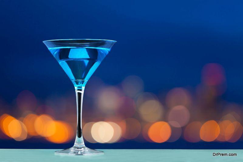 Blue stemmed wine glasses