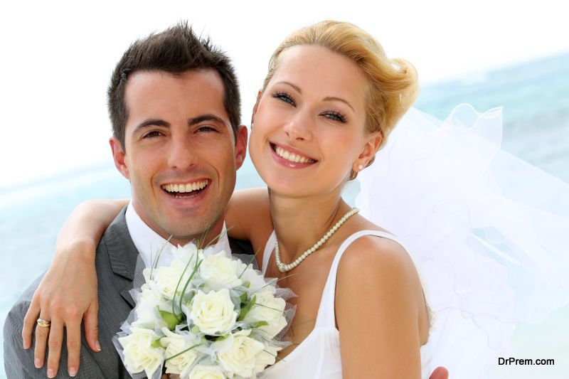 marrying couple is refrained from smiling