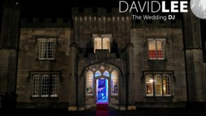 Blue Uplighting glowing in Leighton Hall Entrance