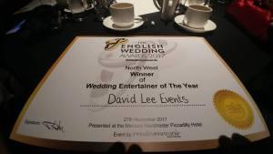Manchester Wedding DJ Award Certificate