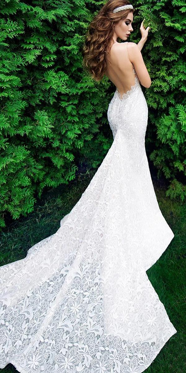 mermaid wedding dresses low back with train ariamo bridal