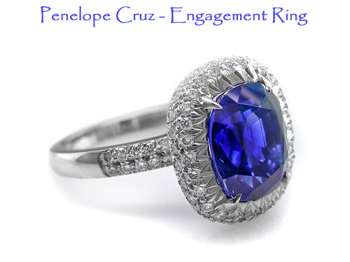 Penelope Cruz blue sapphire wedding/engagment ring