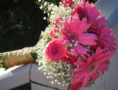 Gerber Daisy and Baby's Breath Bridal Bouquet