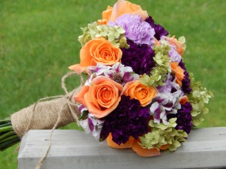 Rustic Fall Bridal bouquet of purple and orange flowers