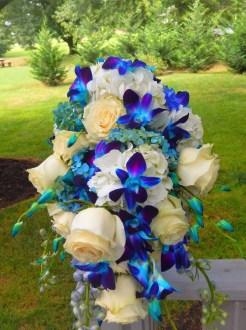 bright blue bridal bouquet