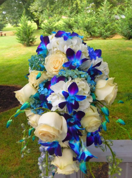 bright blue bridal bouquet