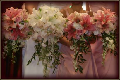cascading bouquets