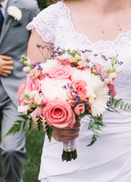 Pink, purple and white bridal bouquet