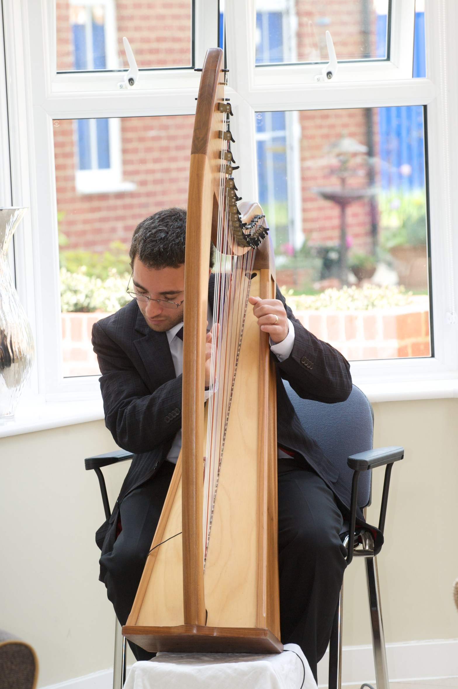 Mark Levin playing the harp