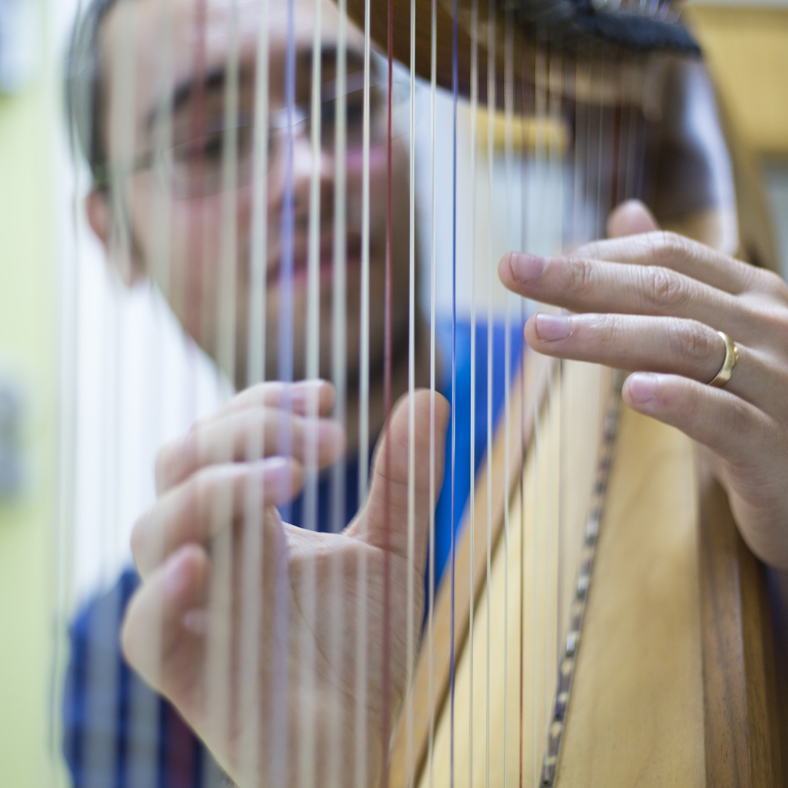 Mark playing the harp