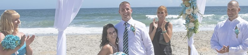 bride and groom on the OBX beach
