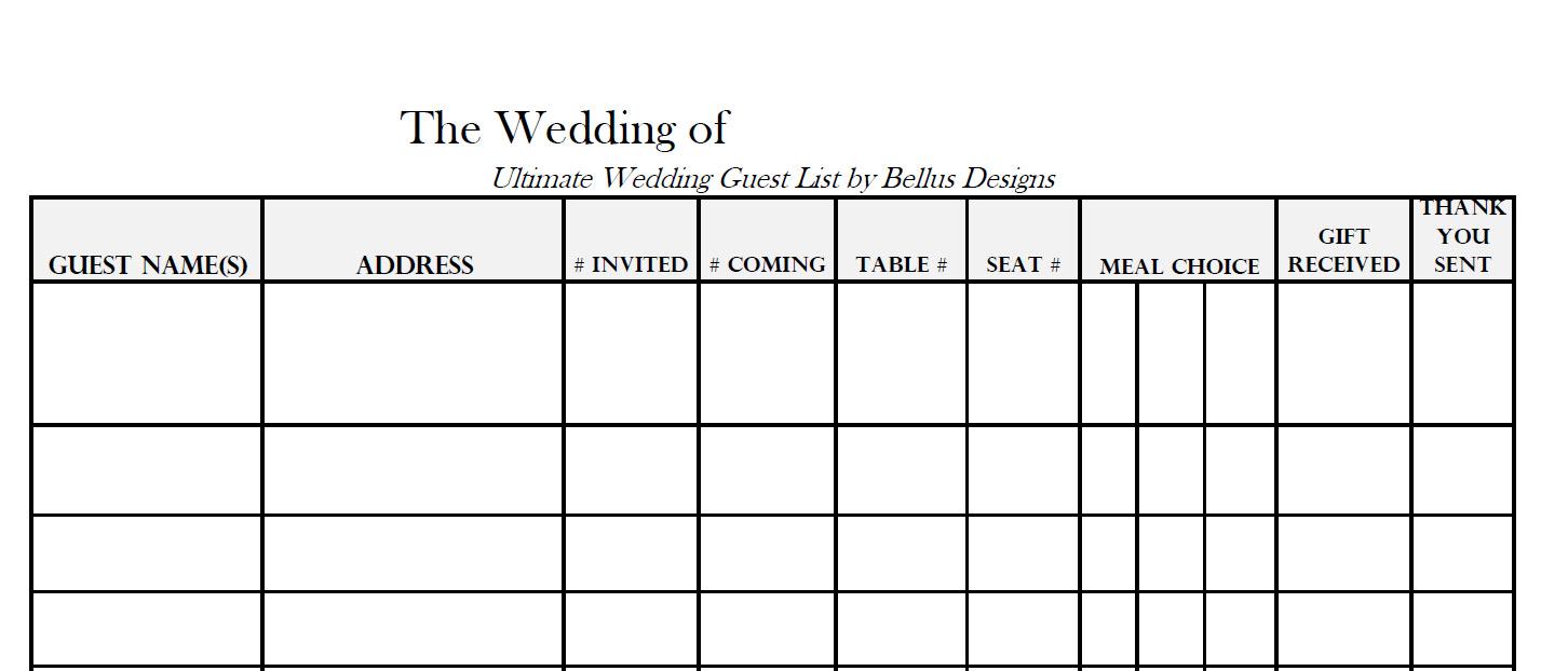 Free Downloadable Wedding Guest Amp RSVP List Wedding Monograms By Bellus Designs