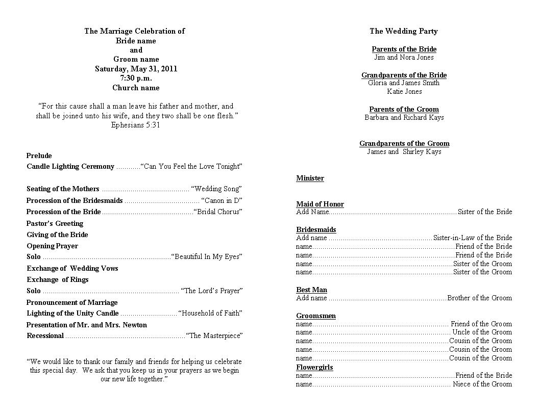 Wedding Ceremony Template Free. any other questions about my or ...