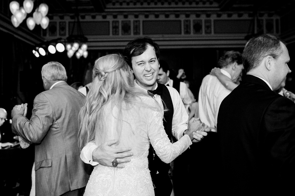 Hermitage Hotel Reception Black and White Nashville Wedding