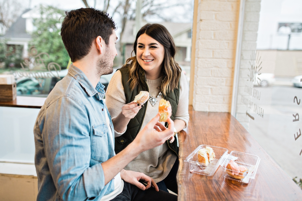 Five Daughters Bakery 12th South Engagement Photography Nashville