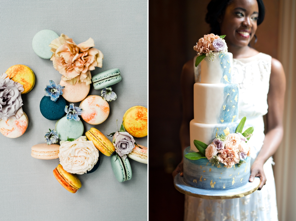 Watercolor Cake with Gold Leaf Paris Wedding Photographer