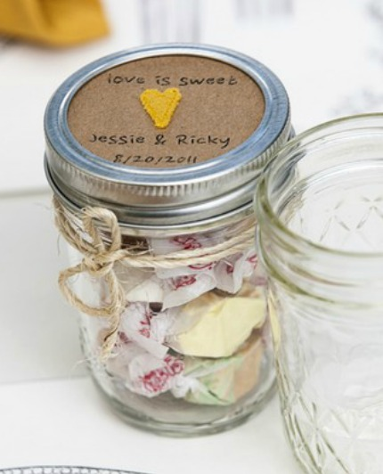 Mason Jar Ideas For Weddings: Kraft + Yellow Mason Jar Wedding Favors