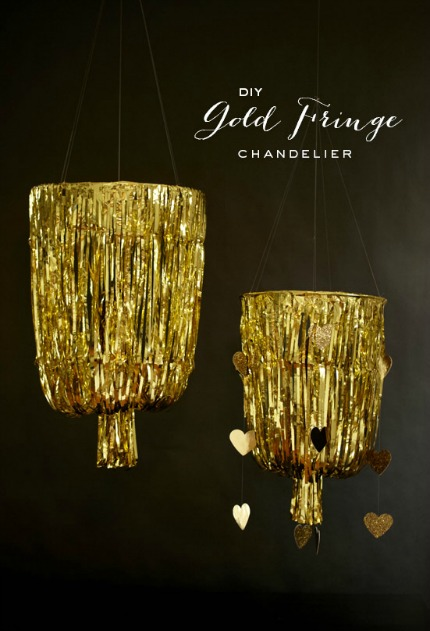 gold fringe chandelier via 100 layer cake