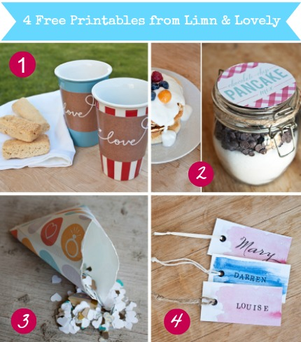 4 Free Printables from Limn & Lovely Created by Susan Brand Design