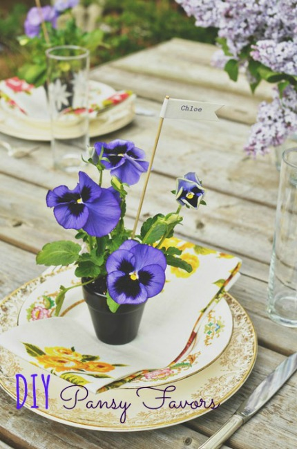 DIY Pansy Favors via Intimate Weddings