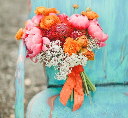Orange Crush Wedding Inspiration via Green Wedding Shoes
