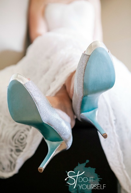 DIY Painted Bridal Shoes via Something Turquoise