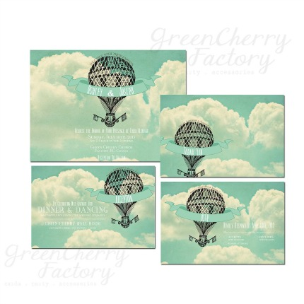 Hot Air Balloon Wedding Invitations via Green Cherry Factory