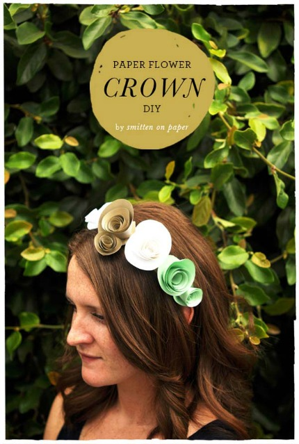 DIY Paper Flower Crown by Smitten on Paper via The Loveliest Day