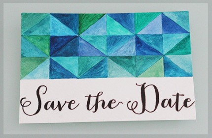 Geometric Watercolor Save the Date via A Little London Wedding