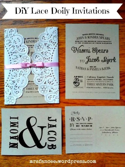 Lace Doily DIY Wedding Invitations via Mrs. Fancee