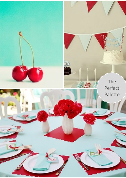 Red and Aqua Wedding Inspiration via The Perfect Palette