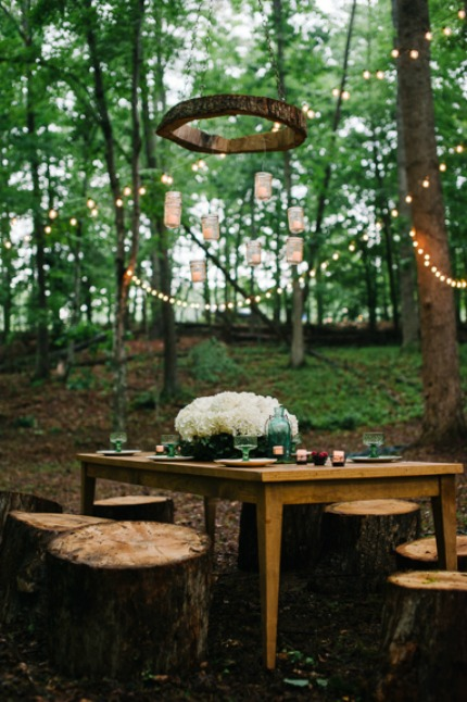 DIY Wood Chandelier via Capitol Romance
