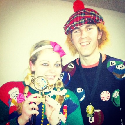 Chris and Elizabeth Rocking Ugly Sweaters!