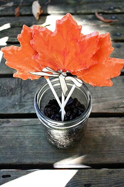 DIY Chocolate Maple Leaf Lollipop Favors via Intimate Weddings