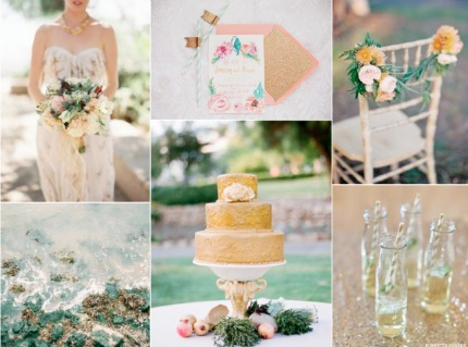 Gold and Patina Wedding Inspiration via Burnett's Boards