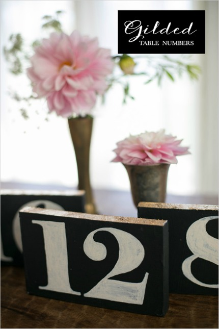 Gilded Table Numbers Tutorial via The Wedding Chicks with image by Katrina Louise Photography