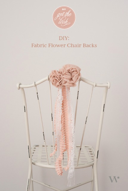 DIY Fabric Flower Chair Backs via blog.weddingstar.com