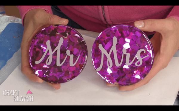 DIY  Resin and Confetti Wedding Coasters
