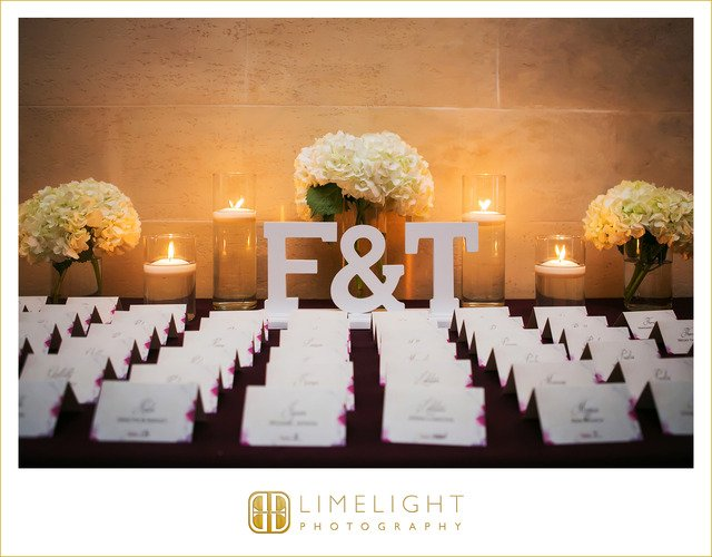 Place Card Table with Hydrangea Arrangements