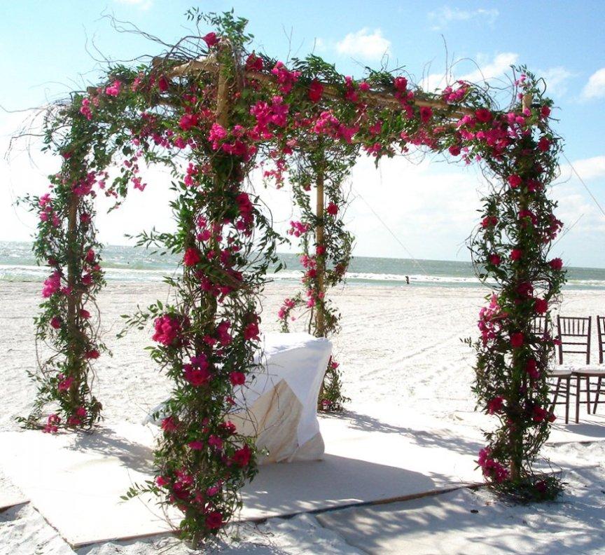 Wedding Flowers Adorn Chuppa at Sarasota Beach Wedding