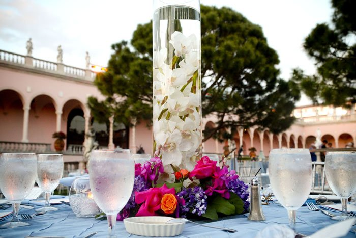 Close-up of wedding flowers at Ringling Museum wedding reception