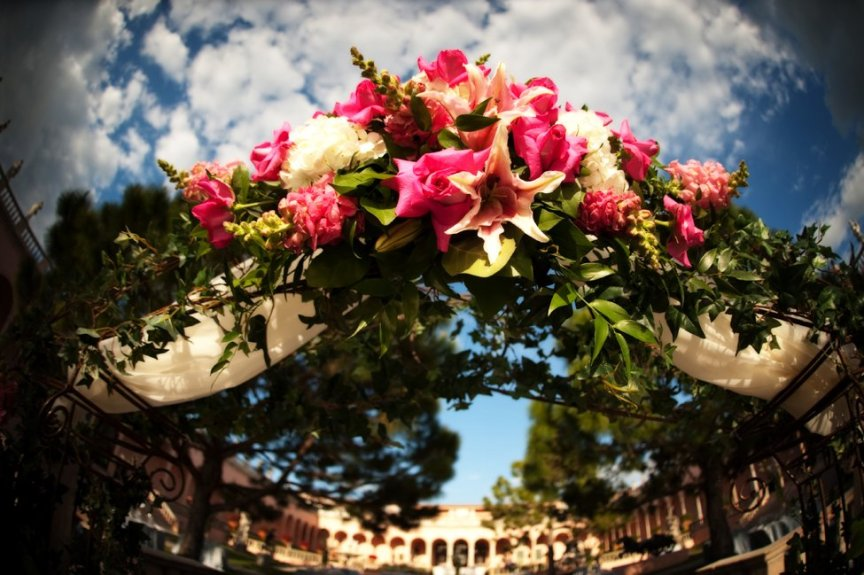 Floral Wedding Arch at Ringling Courtyard Wedding