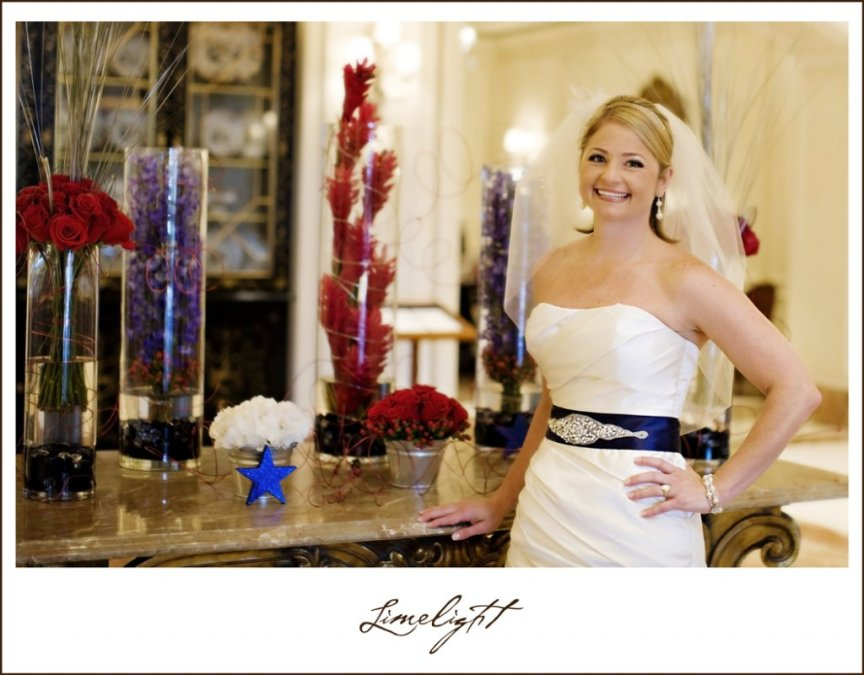 Bride with Red, White & Blue Wedding Flowers