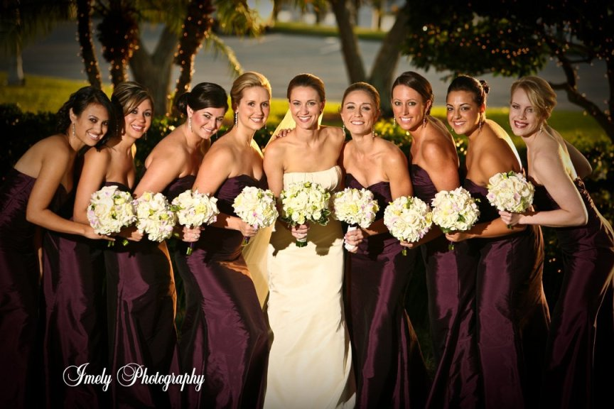 Bridal Party with Bouquets at Private Club on Sarasota Bay