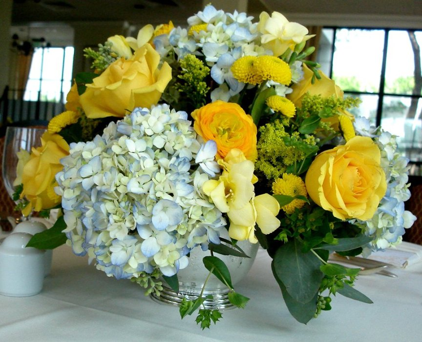Revere Bowl with Yellow Flower Arrangement