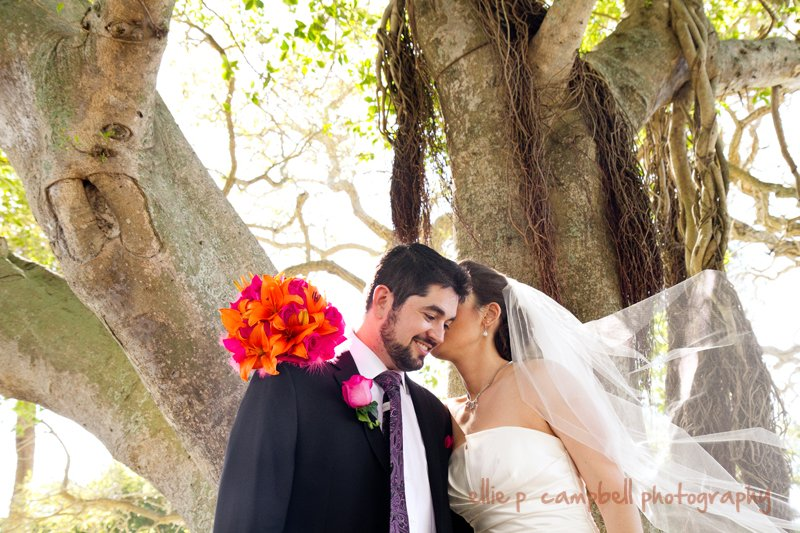 Bride and Groom with Colorful Bridal Bouquet at City Park Sarasota Wedding